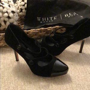 WHBM Black Patent and Suede Heels EUC